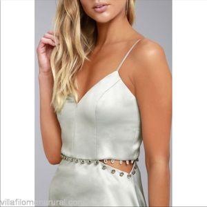 0a0986e27c NBD Dresses - NBD Silver Brandi Skater Satin Dress Size XS EUC